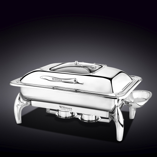 Glass Lid Rectangular Chafing Dish with Stand WL‑559913/AB, fig. 3