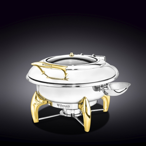 Glass Lid Round Chafing Dish with Stand WL‑559921/AB, fig. 3
